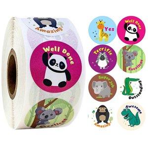 500pcs roll cute cartoon animals stickers journal scrapbooking teacher encouragement reward sticker for children Cartoon stickers