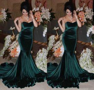 2020 Sweetheart Mermaid Evening Dresses Dark Green Velvet Formal Long Prom Gowns Woman Pageant Event vestidos de festa