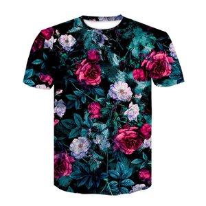 Rose Flower 3D Stampato Tshirt Hip Hop T Modo allentato manica corta Anime Skull Shirt Weeds Top Harajuku Abbigliamento uomo Q1126