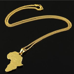 Free shipping Chain Micro Hip Hop Rock Mens Gold Silver Africa Map Pendant Necklaces Fashion Jewelry for 18k Gold Plated 60cm Long