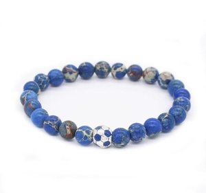 Bracelet Stone Beads Bracelet Nature Sport Men Charm Jewelry Soccer football sqcjX queen66