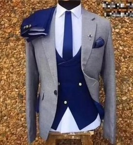 Custom Made Groomsmen Notch Lapel Groom Tuxedos One Button Men Suits Wedding Prom Dinner Best Man Blazer ( Jacket+Pants+Tie+Vest ) K821