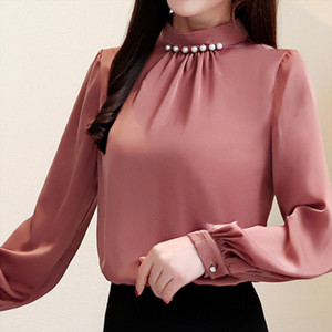 Fashion womens tops and blouses beading stand collar office blouse women chiffon blusas shirt long sleeve women shirts plus size