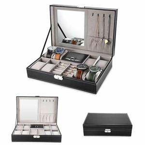 8 Slot Watch Box PU Leather Box Jewelry Case Storage Organizer Space Saving