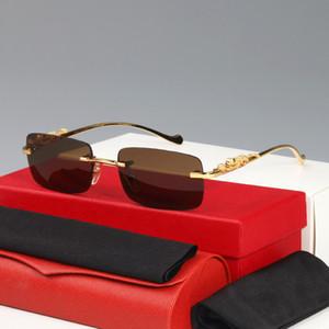 Occhiali da sole Occhiali ottici Leopard Classic Fashion Business Business Gold Silver Ghepardo con cornice Classic Metal Logo senza montatura mezza cornice da uomo