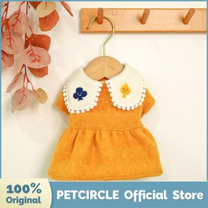 Puppy Clothes Yellow Playing Card Woolen Dress Fit Small Pet Cat All seasons Pet Costume Dog Clothes