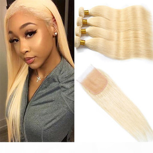 Malaysian Virgin Hair Extensions 8-30inch Blonde 613 4 Bundles With 4X4 Lace Closure Human Hair Wefts With Closure Baby Hair