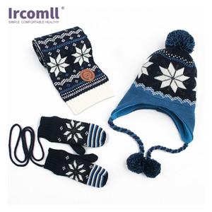 IRCOMERS 3 ADET Kız Set Çift Sıcak Kap Bebek Örgü Şapka Erkek Yün Şapka + Eşarp + Eldiven Kış Aksesuarları