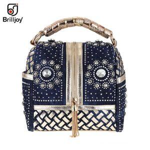 Designer-Brilljoy Designer Woven Women Handbag Rhinestone Totes Shoulder bag Luxury Bags women messenger bag travel bags new