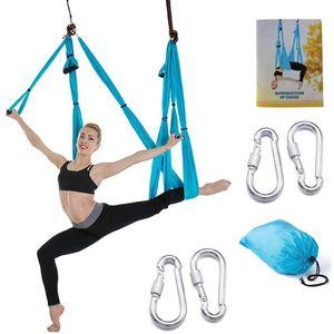 ( SGS CERTIFICATE ) 6-Handle Aerial Yoga Hammock Anti-gravity Yoga Hanging Trapeze Flying Swing Non-Elastic Reversal Hammock