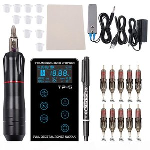Complete Tattoo Machine Kit LCD Touch Screen Power Tattoo Pen machine Set with Needle For Tattoo Eyebrow Tattooist Beginner T200609
