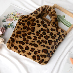 Leopard Print Lady Handbag Imitation Rabbit Fur Crossbody Bag Portable Large Capacity Storage Bag 10 Colors
