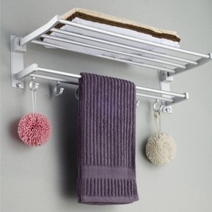 Porte-serviettes de salle de bains pliable alumimum de salle de bain de rangement Cuisinière Cuisine Hotel Widkfloth Vêtements Tablette avec crochets