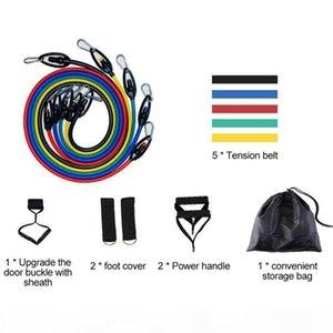 quality11 pieza Resistencia Set Cuerda Yoga Training Entrenamiento de la fuerza de resistencia de la correa de goma del ampliador Bandas elásticas de fitness con el bolso