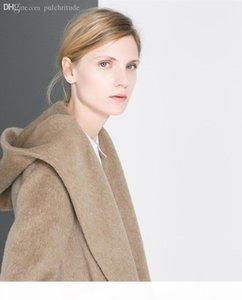 Wholesale-2015 New Sale Casacos Femininos Coat Women Freeshipping Ultra- Soft Feel Deep Camel Wool Coat Hooded Windbreaker Belt Ornaments