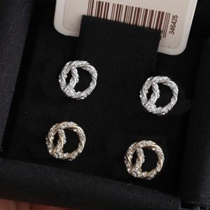 Fashion Gold Diamond Stud Pendientes aretes para lady mujeres fiesta amantes de la boda joyería de compromiso de regalo para la novia con la caja.