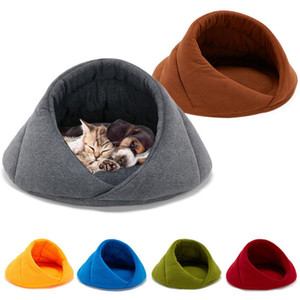 Practical Pet Sleeping Bed Cats Dogs Soft Nest Semi-closed Kennel Cave Winter Warm Bag Fleece Pet Rest Beds for Supplie