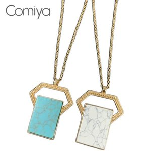 Comiya Korean Necklace For Women Gold Color Zinc Alloy Geometric Resin Stone Pendant Collare Mujer Statement Fashion Necklace
