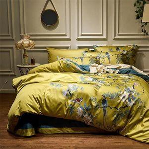 4 шт. Шелковистый египетский хлопок желтый желтый чинозероситель стиль птиц цветы одеяло покрытие кровать простыня установить лист листа король размера королевы постельного белья