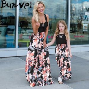 Bunvel Anne ve Kızı Elbise Çiçek Baskılı Bebek Kız Giysileri Patchwork Eşleştirme Kıyafetler Yaz Bahar Aile Eşleştirme Giysi LJ201111