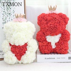 Rose Teddy Bear Mousse Core Simulation Simulation Foam Faux Artificiels Ours Accessoires Rose Head Embrace Girrante Girlfriend cadeau