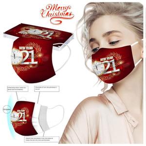 2021 Neues Jahr Erwachsene Kinder Cartoon Muster Feuerwerk Schneeflocke Einweg-Elastische Schutzabstaubschutz Dekorative Ohrhaken Gesichtsmaske