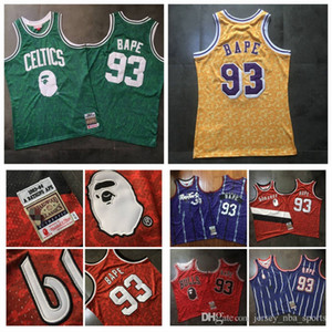 Uomini 93 Bapexmitchell Ness Green Purple Yellow Red 1982-83 Classici Jersey a doppio ricamato S-2XL