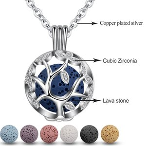EUDORA mm Tree Of Life Pendant Aromatherapy CZ Cage locket Diffuser Necklace fit Volcanic Lava Stone Ball Fine Jewelry K