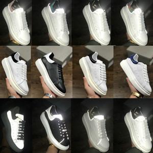2021 Mens Trainers Femininas Reflexivas 3M Branco Plataforma de Couro Sneakers Womens Mens Casual Party Shoes de Casamento Sapatilhas Esportivas de Camurça