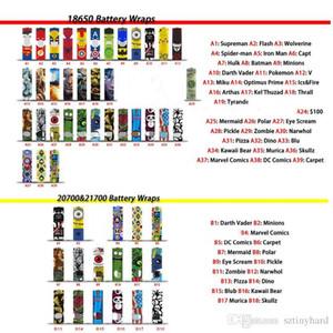 58 styles nouveaux 18650 20700 21700 Carrelage de la batterie Stickers de la peau PVC Couvre-emballage Rétractable Couvercle de la chaleur Rétrécissement de la chaleur Rétractable pour les batteries