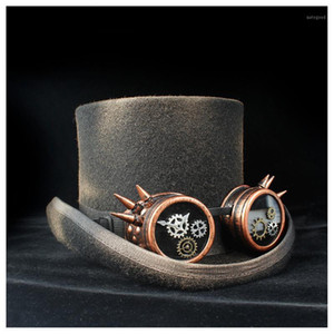 Top Hat Fashion Fedora Hat for Men Women Steampunk Hats Black 100% Wool Cap Googles Gothic Party Festival1