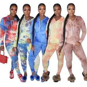 2020 New women's autumn and winter boutique leisure printing sports two piece set fashion Designer style Long sleeve trousers Jogging suit