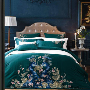Luxury Green Peacock Embroidery 60S Egyptian Cotton Bedding Set Queen King Size Duvet Cover Bed sheet Linen Pillowcases 4 6pcs1