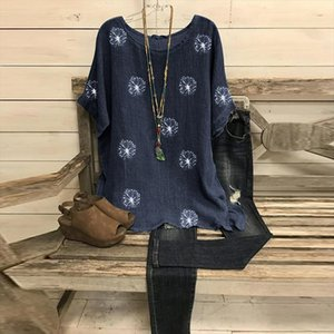 Flower Print Womens Blouse Vintage O Neck Batwing Half Sleeve Female Tunic Plus Size Loose 2020 Autumn Women Tops And Blouses