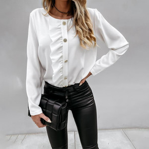 Muyogrt Women Ruffles Blouse Shirts Women Autumn Long Sleeve V-Neck Pullover Tops Office Lady Casual Solid White Plus Size Blusa