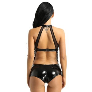 Shiny PVC Latex Mesh Stitching Catsuit See Through Rave Clothes Sexy Women Faux Leather Latex Pole Dance Crotchless Bodysuits