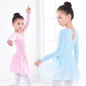 New Arrivals Children Ballet Gymnastics Leotard Dress Girls Long Short Sleeve Ballet Dance Skirted Leotard