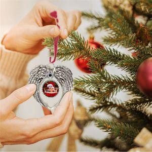Sublimação Blanks Angel Asa Ornamento Decorações de Natal Angel Wings Forma Em Branco Adicione sua própria imagem e fundo PPF3474