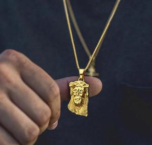 Necklaces Pendants Christian Face Color Collier Head Jesus For Piece Rope Chain Men Women Hop Gold Jewelry Hip sqcIq whole2019