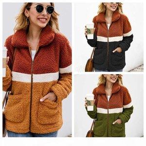 Women Patchwork Coat Long Sleeve Zipper Sherpa Sweatshirt Soft Fleece Jacket Outwear with Pockets Tops plush sweatshirt LJJA2861