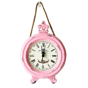 Rustic 8 Iich Wooden Wall mounted Round Vintage wall clock belt Strap hanger Retro Clock Home Decro Gift