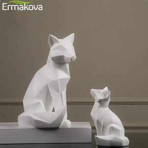 ERMAKOVA Geometric Fox Sculpture Animal Statues Simple White Abstract Ornaments Modern Home Decorations 201125