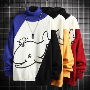 Spring Outono Sweater Masculino Streetwear Estilo Coreano Splicing Sweater Homens Casuais Homens Roupas Cartoons Turtelneck Homens