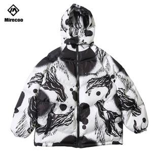Colete reflector listrado Parka Ink Graffiti Imprimir Homens de Inverno com capuz Windbreaker Streetwear acolchoado Jacket casaco quente Outwear 201118