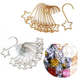 20pcs Metal Hook Christmas Star Ornaments Hanging Pendants Xmas Tree Decor 2020 Navidad New Year Christmas Decoration Supplies