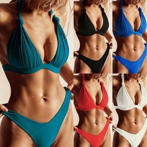 Sexy High Neck Bikinis Swimwear Women Swimsuit Flower Halter Top Bikini Set Padded Bathing Suits