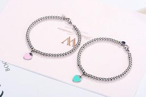Internet celebridad mismo estilo 925 plateado pulsera t hogar amor esmalte melocotón corazón azul buddha perlas pulsera para mujeres una generación