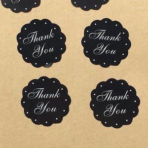 3см черный спасибо круглые пользовательские клейки наклейки этикетки Scrapbook Concept Classic Paper Handmade подарки упаковки1