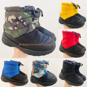 Top TNFS Kids Boots Casual Keep Warm University Blue And Orange Black Leaves Supes Girls Designer Winter Outdoor Nuptse Bootie Size 24-35