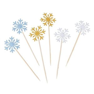 Glitter Snowflake Cupcake Toppers Cake Picks Decoration for Birthday Wedding Baby Shower Party,30 pcs